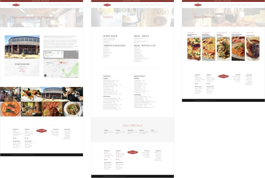 Il Primo Website Interior Pages
