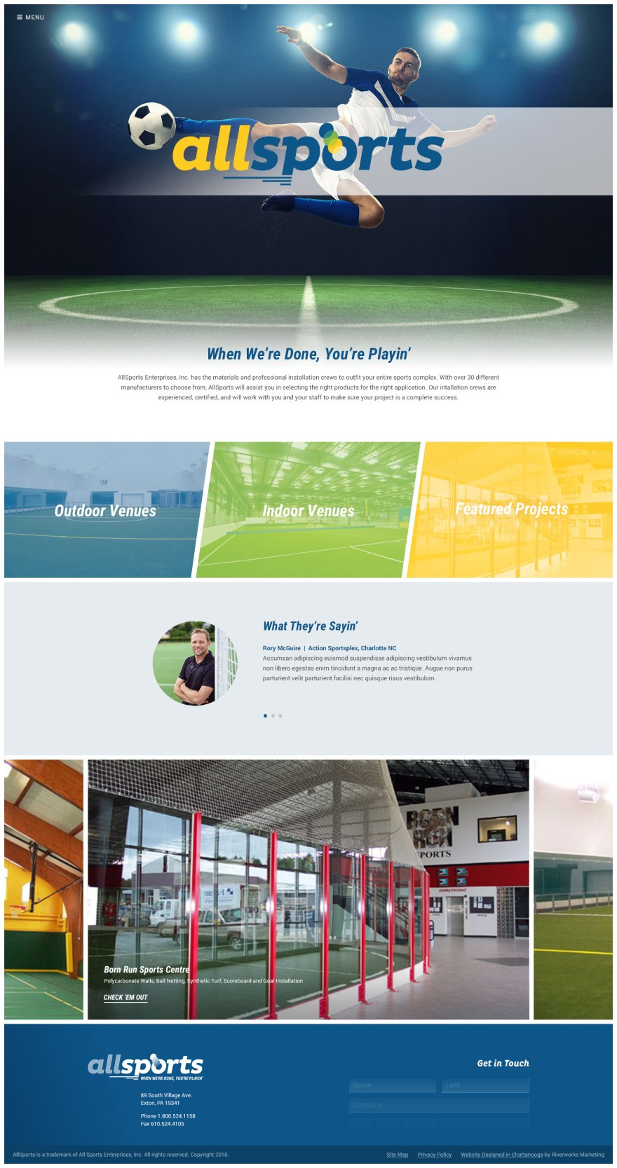 AllSports Website Homepage